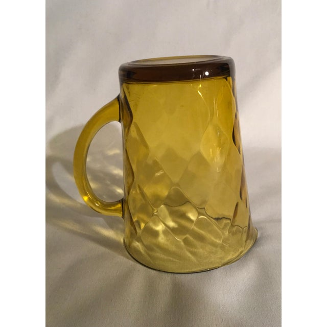 Glass 1970s Hazel-Atlas Amber Embossed Diamond Pattern Pressed-Glass Pitcher For Sale - Image 7 of 7