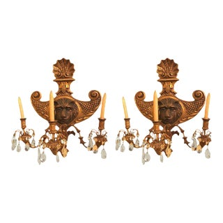 19th Century Carved Lion Head Shell Form Wooden Sconces - a Pair