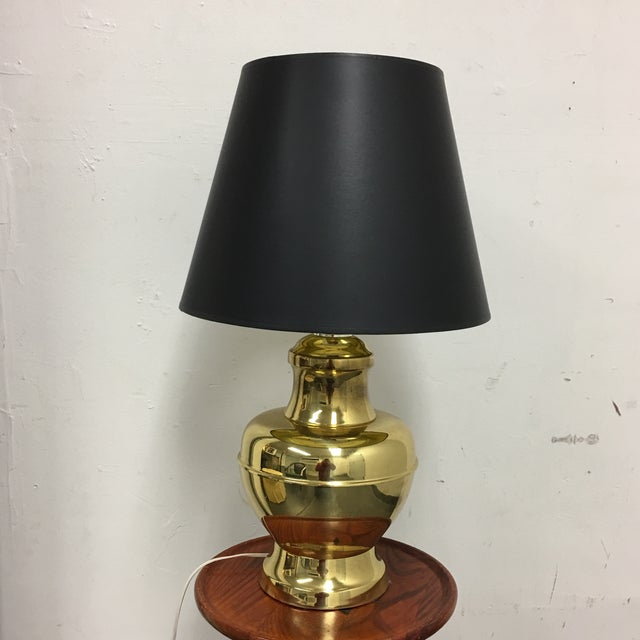 Brass Table Lamp With Black Shade Gold Foil