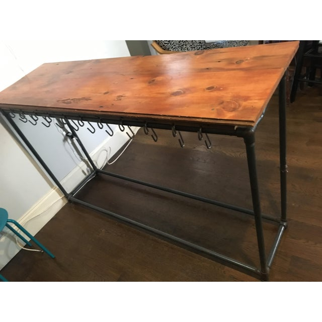 Antique Industrial Rustic Wood Top Kitchen Island Table