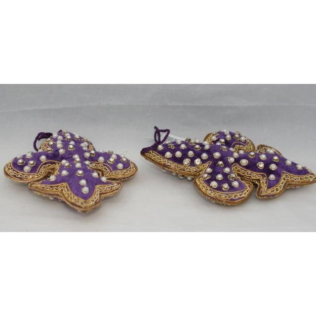Sudha Pennathur Fleur De Lis Purple Velvet Beaded Ornaments - Set of 2 For Sale - Image 4 of 7