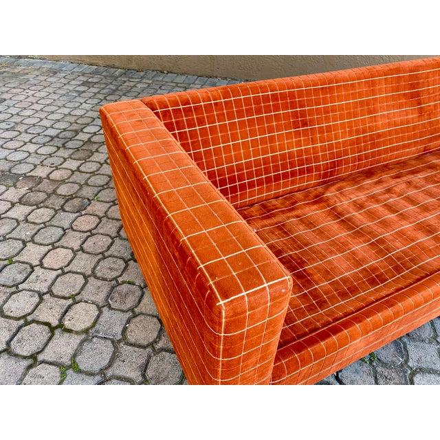 Orange 70s Orange Stripped Long Sofa Baughman/Probber Era For Sale - Image 8 of 9
