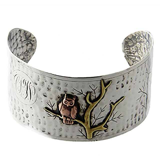 Arts and Crafts Handmade Sterling Silver and Mixed Metal Owl Cuff Bracelet For Sale In Miami - Image 6 of 6