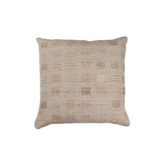 Indian Hand Woven Textile Pillow in Window Weave Design For Sale