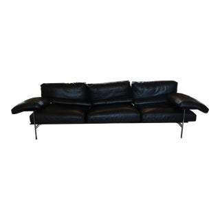 1990s Vintage B&b Italia Diesis Black Leather Sofa For Sale