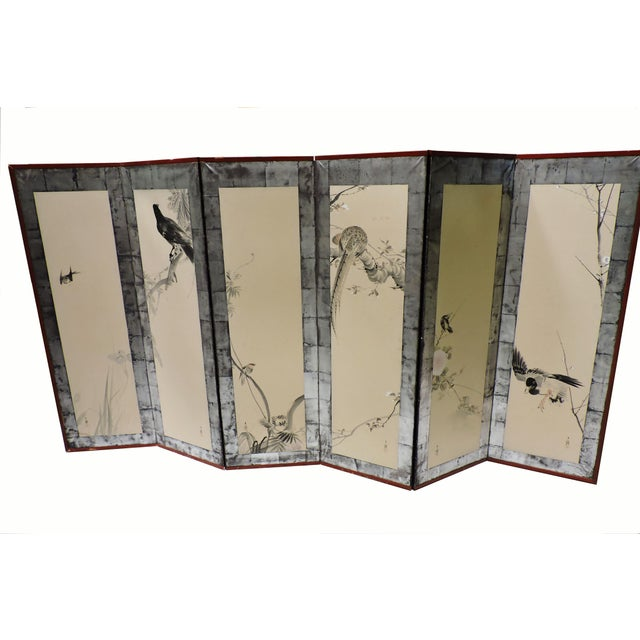 Pair of Hand Painted Japanese Panel Screens With Birds and Flowers For Sale - Image 13 of 13