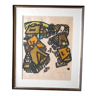 Vintage Mid 20th C. Signed Japanese Woodblock-Framed For Sale