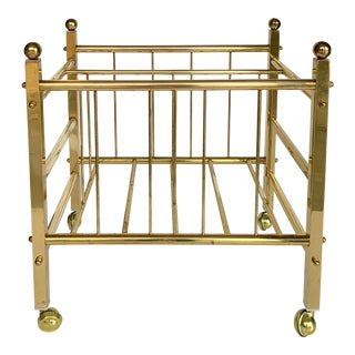 Mid Century Modern Brass Magazine Rack For Sale