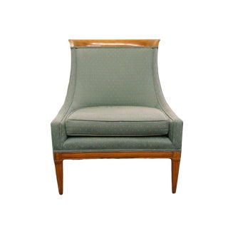 Mid-Century Modern Green Upholstered Accent Chair For Sale
