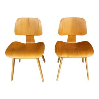 Dcw Eames for Herman Miller Wood Chairs- A Pair For Sale