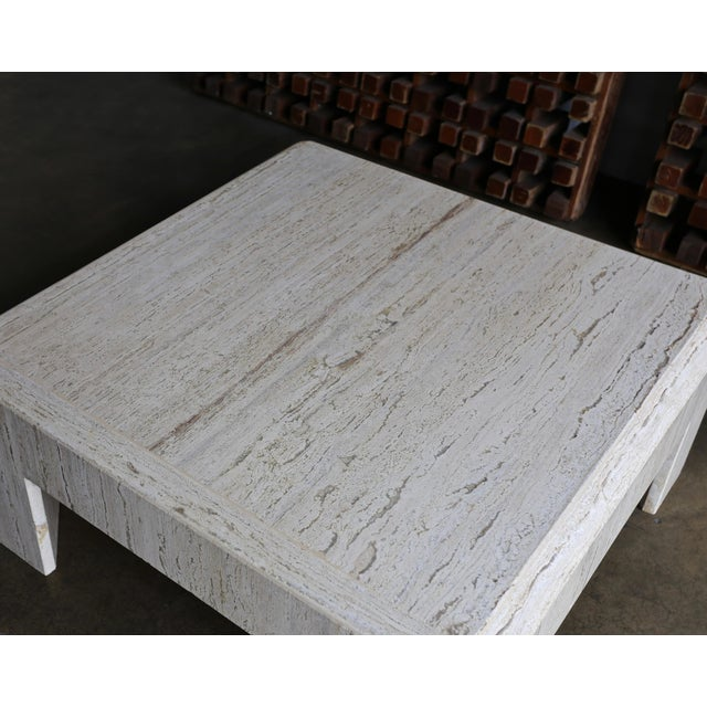 White 1980s Vintage Modernist Travertine Coffee Table For Sale - Image 8 of 10