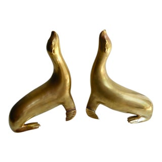 Pair of Solid Brass Sea Lion Bookends C. 1980s For Sale