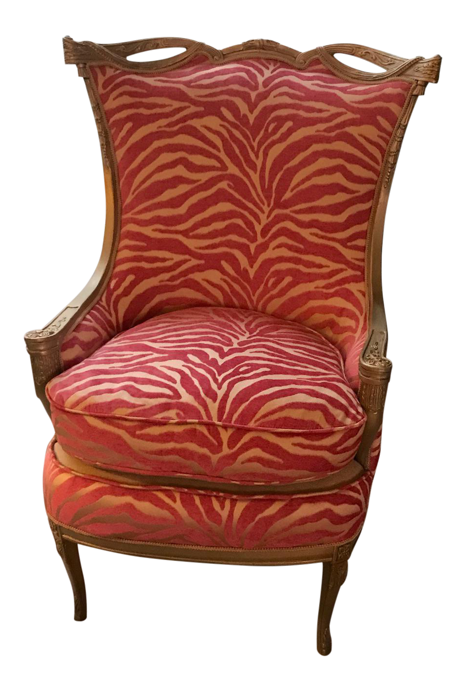 Etonnant Pink Zebra Print Upholstered Chair With Gold Frame
