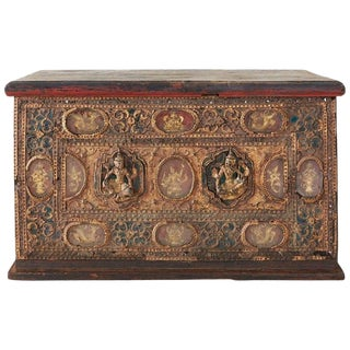 19th Century Burmese Mandalay Gilt Chest or Trunk For Sale