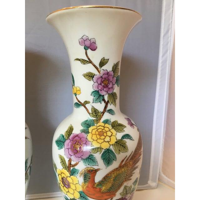 Porcelain Pheasant Vases - A Pair - Image 3 of 6