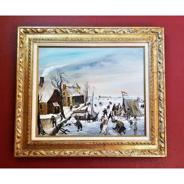 Dutch Ice Skating Oil Painting on Canvas by Van Buiksloot For Sale - Image 10 of 13