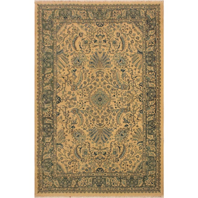 Ivory Semi Antique Istanbul Catrina Ivory/Lt. Green Turkish Hand-Knotted Rug -4'2 X 6'1 For Sale - Image 8 of 8