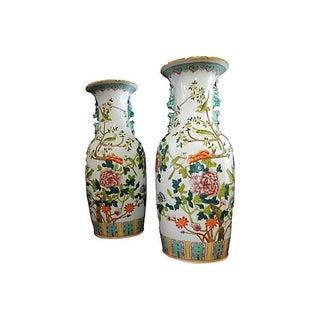 Vintage Porcelain Famille Verte Vases W/ Peacocks - A Pair Preview