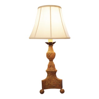 Giltwood Candlestick Mounted as a Lamp For Sale