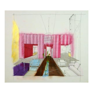 Architectural Drawing of Lounge For Sale