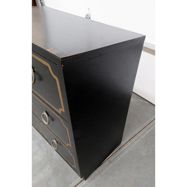 Wood Mid-Century Modern Ebonized Black & Gold Chest For Sale - Image 7 of 10