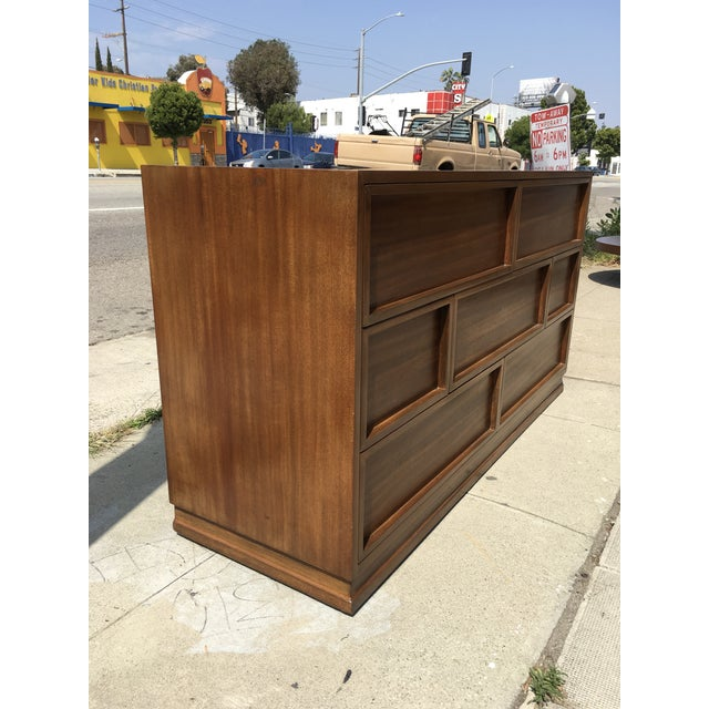 Brown 1940s Mid Century Modern Triangle Brand Mahogany Low Dresser For Sale - Image 8 of 11