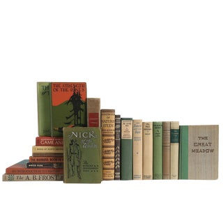 Outdoor Adventures in Green & Brown - Set of Twenty Vintage Decorative Books