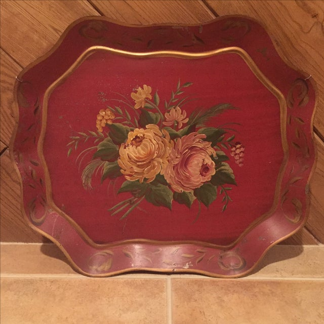 Antique Floral Tole Tray - Image 2 of 7