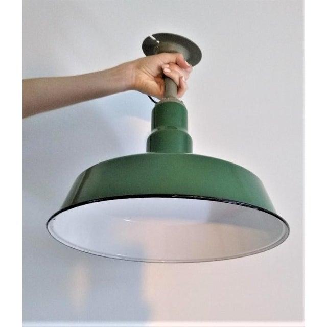 Vintage Green Enameled Metal Pendant Light For Sale - Image 4 of 7