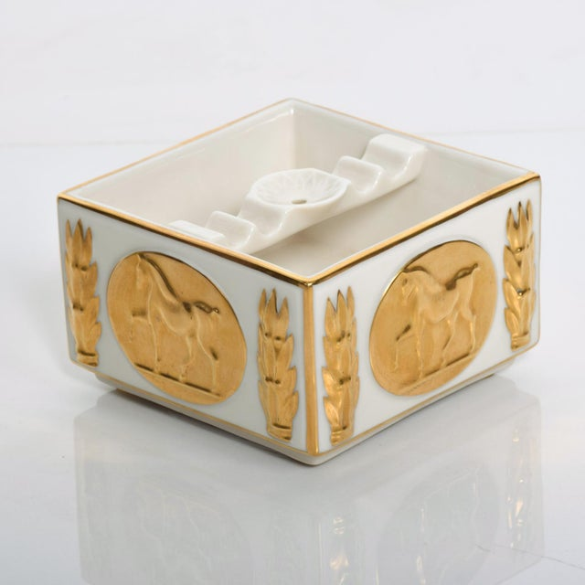 For your consideration a Mid Century Modern LENOX Vintage AshTray in Porcelain and Gold Original Very Good Vintage...