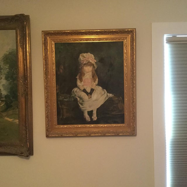 Antique Young Girl Oil Painting - Image 3 of 3