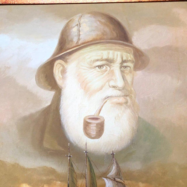 This is a large vintage framed painting depicting a captain and ship. The piece was made in the 1960s.