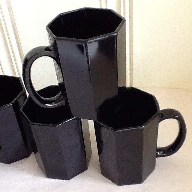 Ebony Ceramic French Mugs - Set of 6 For Sale - Image 9 of 11
