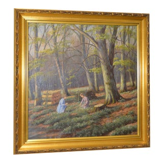 """Gathering Flowers in the Forest"" Early 20th Century Oil Painting c.1925"