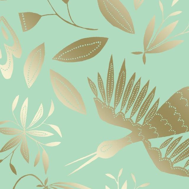 Transitional Julia Kipling Otomi Grand Wallpaper, 3 Yards, in Chiffon, Gold Flash For Sale - Image 3 of 4