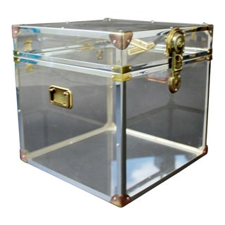 Mid Century Modern Brass Lucite Acrylic Square Side End Cabinet Table For Sale