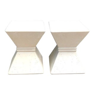 1980s Postmodern Geometric Hourglass Side Tables - a Pair For Sale