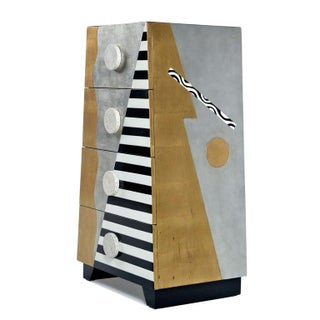 Memphis Sottsass Style Silver and Gold Foil Pyramidal Dresser Chest of Drawers Preview