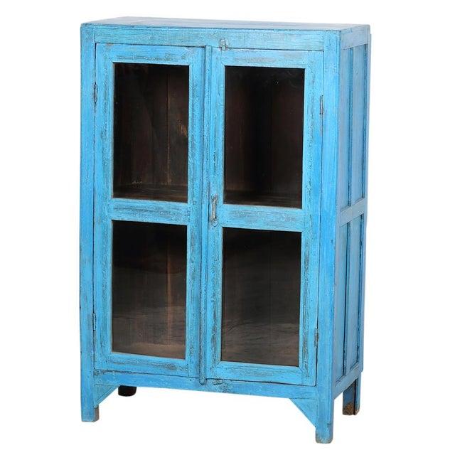 Sky Blue Glass Paneled Cabinet - Image 3 of 5