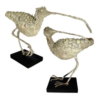 Shell Encrusted Burlap & Wire Wading Bird Sculptures - A Pair For Sale