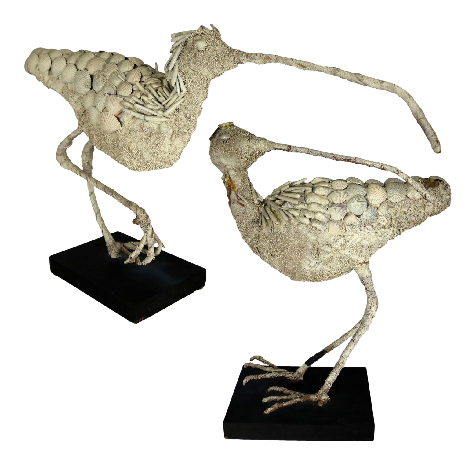 Shell Encrusted Burlap U0026 Wire Wading Bird Sculptures   A Pair