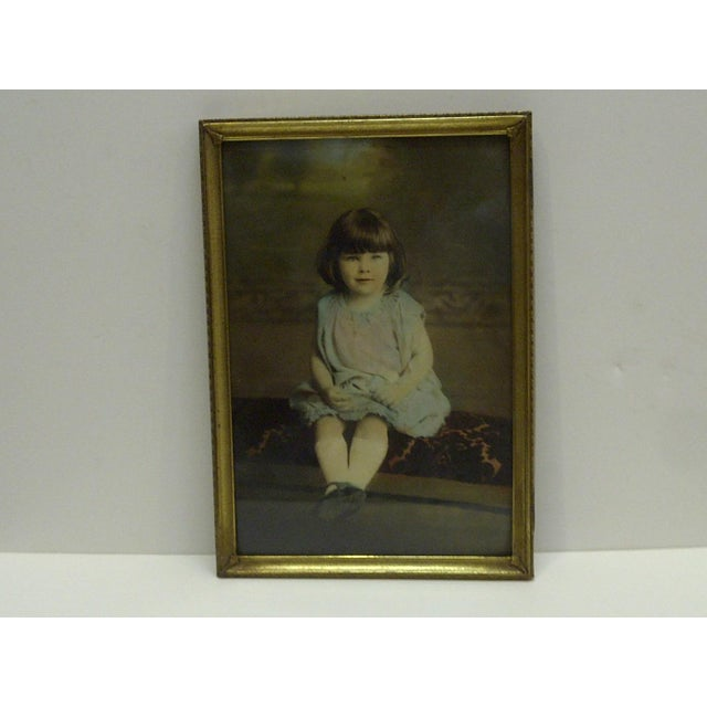 "This is a vintage framed color photograph titled ""Little Girl"" -- Circa 1920."