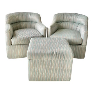 Barrel Shaped Vintage Swivel Club Chairs & Ottoman, 3 Pieces For Sale