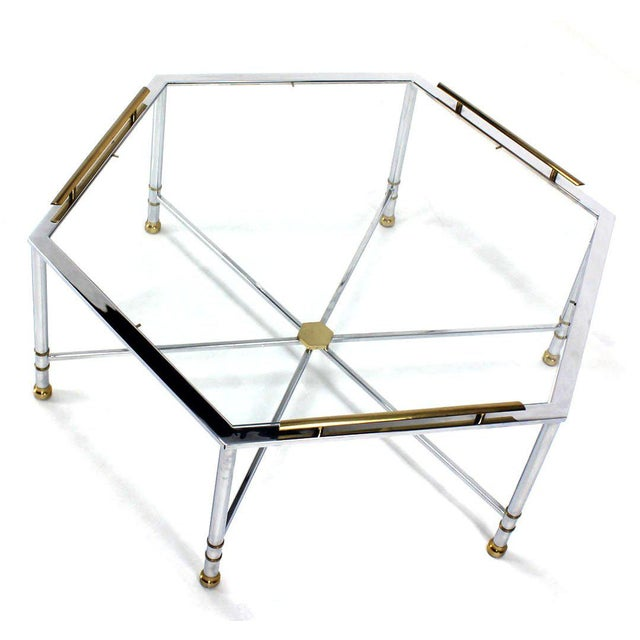 Brass Maison Jansen Style Chrome Brass & Glass Hexagon Coffee Table For Sale - Image 7 of 8