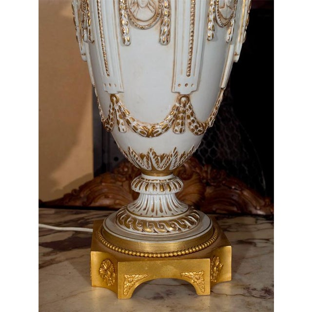 Ornate White Ceramic Lamps on Bronze Base - A Pair For Sale - Image 4 of 9