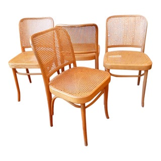 Vintage Thonet Cane Dining Chairs - Set of 4