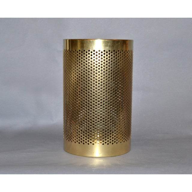 Vintage Italian Frontgate Brass Perforated Trash Waste Basket For Sale - Image 13 of 13