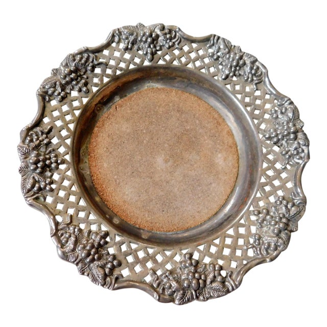 Traditional Silver Wine Bottle Coaster For Sale