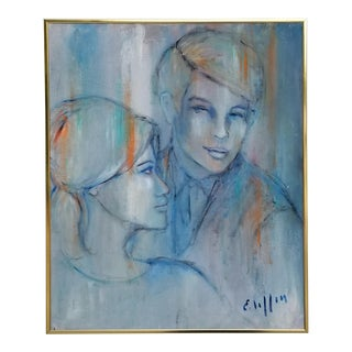 1960s Vintage Figural of Man and Woman Painting by E. Lillin For Sale