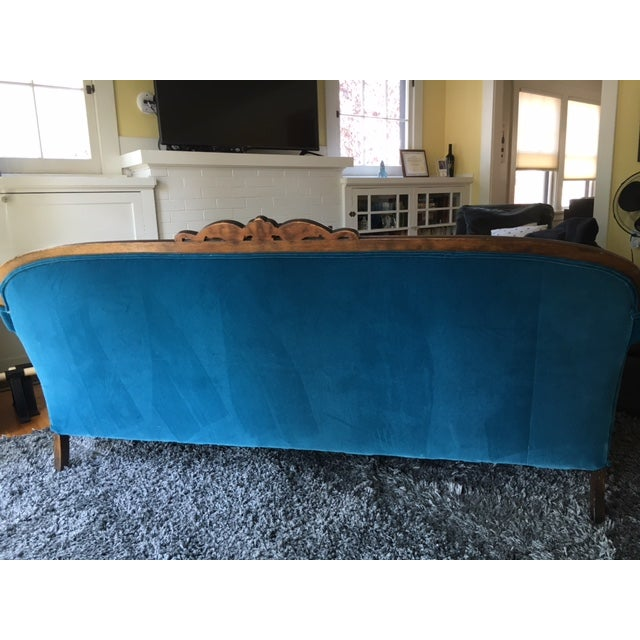 Peacock Blue Velvet Sofa For Sale - Image 5 of 6